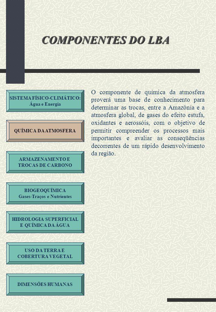 SISTEMA FÍSICO-CLIMÁTICO: Água e Energia QUÍMICA DA ATMOSFERA ARMAZENAMENTO E TROCAS DE CARBONO BIOGEOQUÍMICA Gases-Traços e Nutrientes HIDROLOGIA SUPERFICIAL E QUÍMICA DA ÁGUA USO DA TERRA E COBERTURA VEGETAL DIMENSÕES HUMANAS COMPONENTES DO LBA A Amazônia constitui-se em um grande reservatório global de carbono.