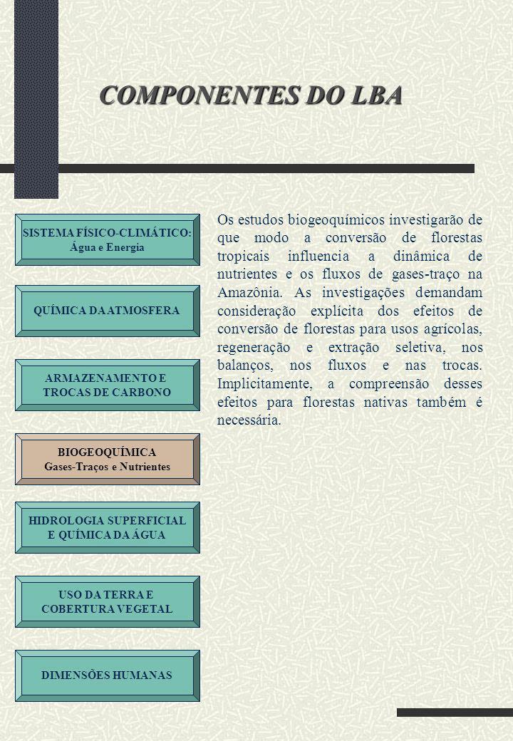 SISTEMA FÍSICO-CLIMÁTICO: Água e Energia QUÍMICA DA ATMOSFERA ARMAZENAMENTO E TROCAS DE CARBONO BIOGEOQUÍMICA Gases-Traços e Nutrientes HIDROLOGIA SUPERFICIAL E QUÍMICA DA ÁGUA USO DA TERRA E COBERTURA VEGETAL DIMENSÕES HUMANAS COMPONENTES DO LBA A Amazônia é uma região dotada de abundância de água e se constitui no maior sistema fluvial do mundo, com áreas de várzea periodicamente inundadas.