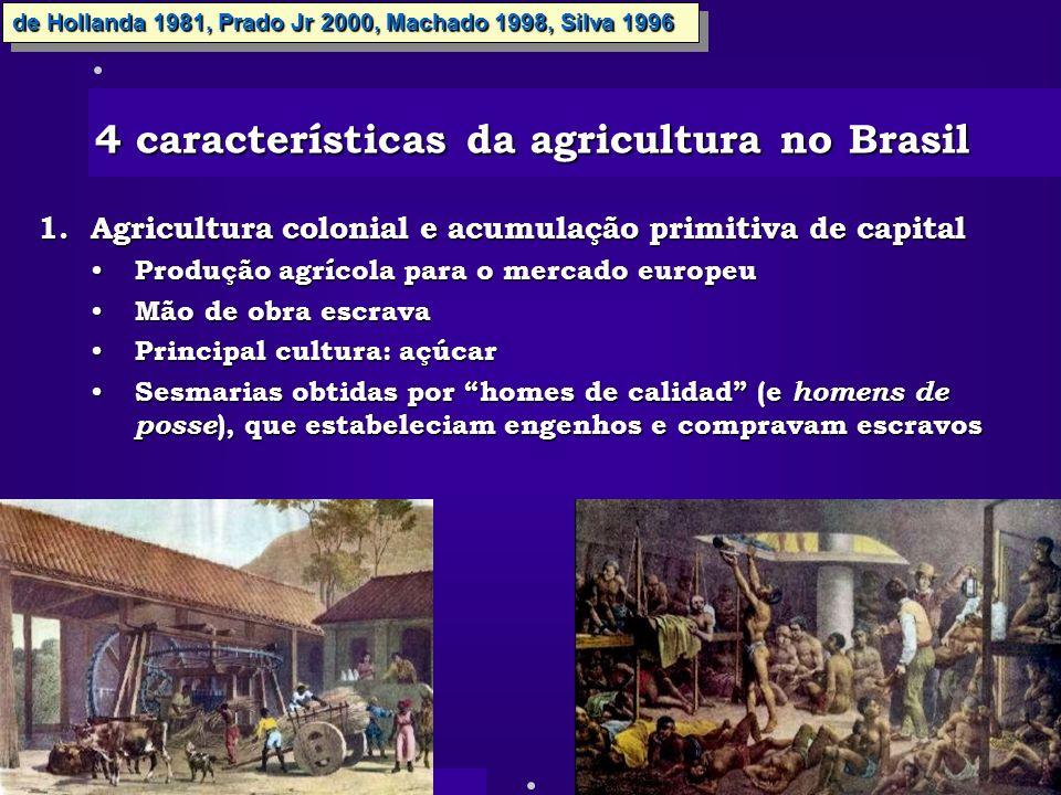 4 características da agricultura no Brasil 1.Agricultura colonial e acumulação primitiva de capital Produção agrícola para o mercado europeu Produção