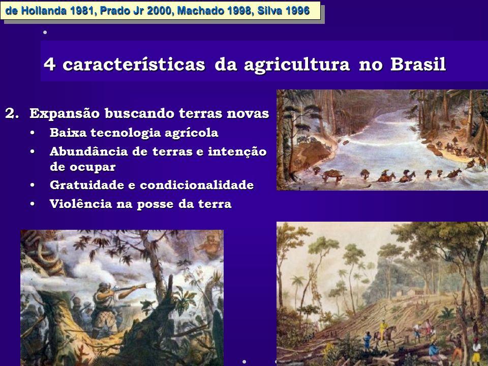 2.Expansão buscando terras novas Baixa tecnologia agrícola Baixa tecnologia agrícola Abundância de terras e intenção de ocupar Abundância de terras e