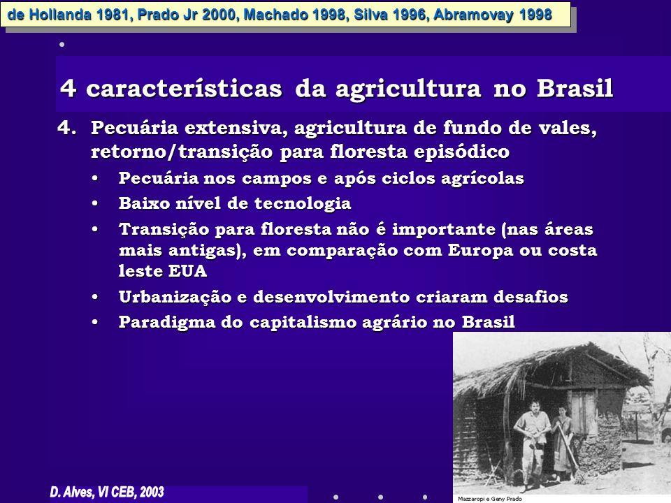 4.Pecuária extensiva, agricultura de fundo de vales, retorno/transição para floresta episódico Pecuária nos campos e após ciclos agrícolas Pecuária no
