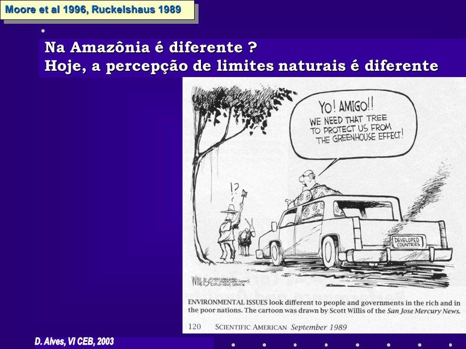Na Amazônia é diferente ? Hoje, a percepção de limites naturais é diferente Moore et al 1996, Ruckelshaus 1989