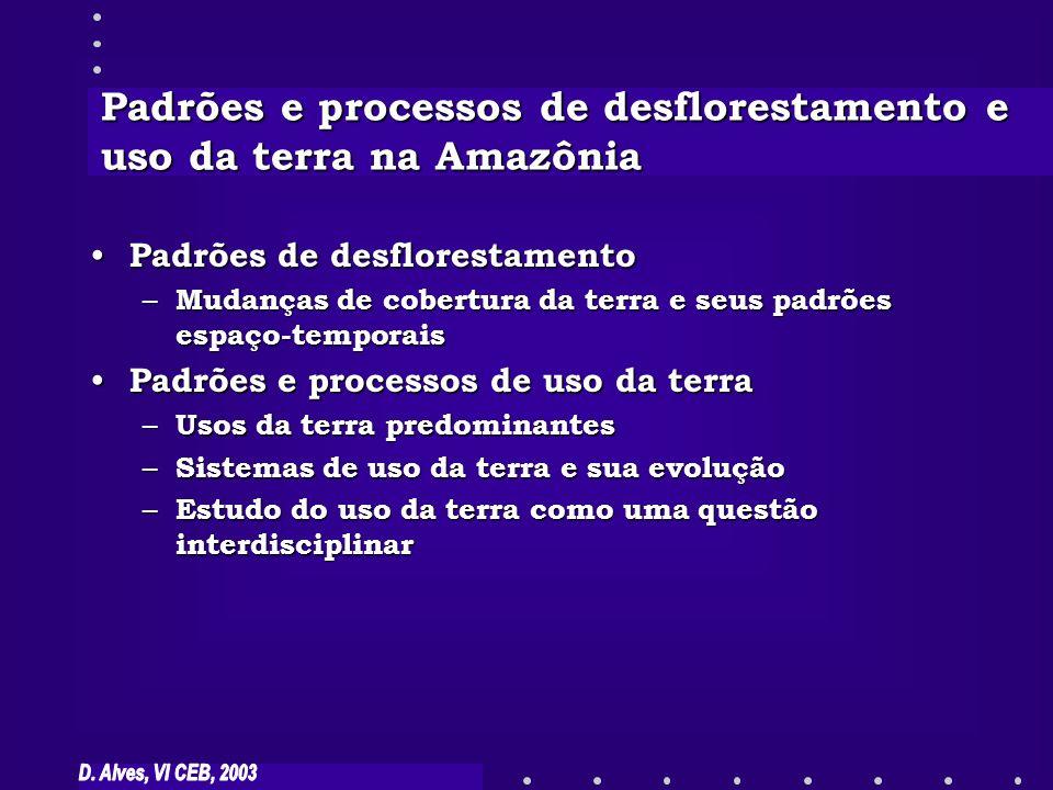 Padrões e processos de desflorestamento e uso da terra na Amazônia Padrões de desflorestamento Padrões de desflorestamento – Mudanças de cobertura da