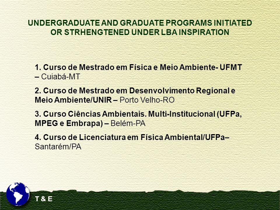 T & E 1. Curso de Mestrado em Física e Meio Ambiente- UFMT – Cuiabá-MT 2. Curso de Mestrado em Desenvolvimento Regional e Meio Ambiente/UNIR – Porto V