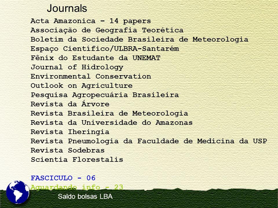 Acta Amazonica – 14 papers Associação de Geografia Teorética Boletim da Sociedade Brasileira de Meteorologia Espaço Científico/ULBRA-Santarém Fênix do