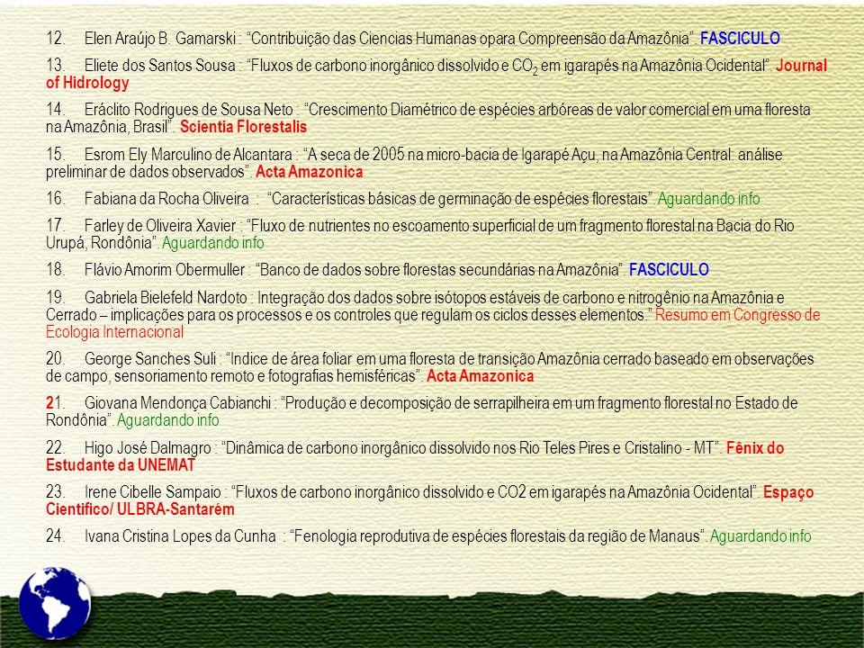 12. Elen Araújo B. Gamarski : Contribuição das Ciencias Humanas opara Compreensão da Amazônia. FASCICULO 13. Eliete dos Santos Sousa : Fluxos de carbo