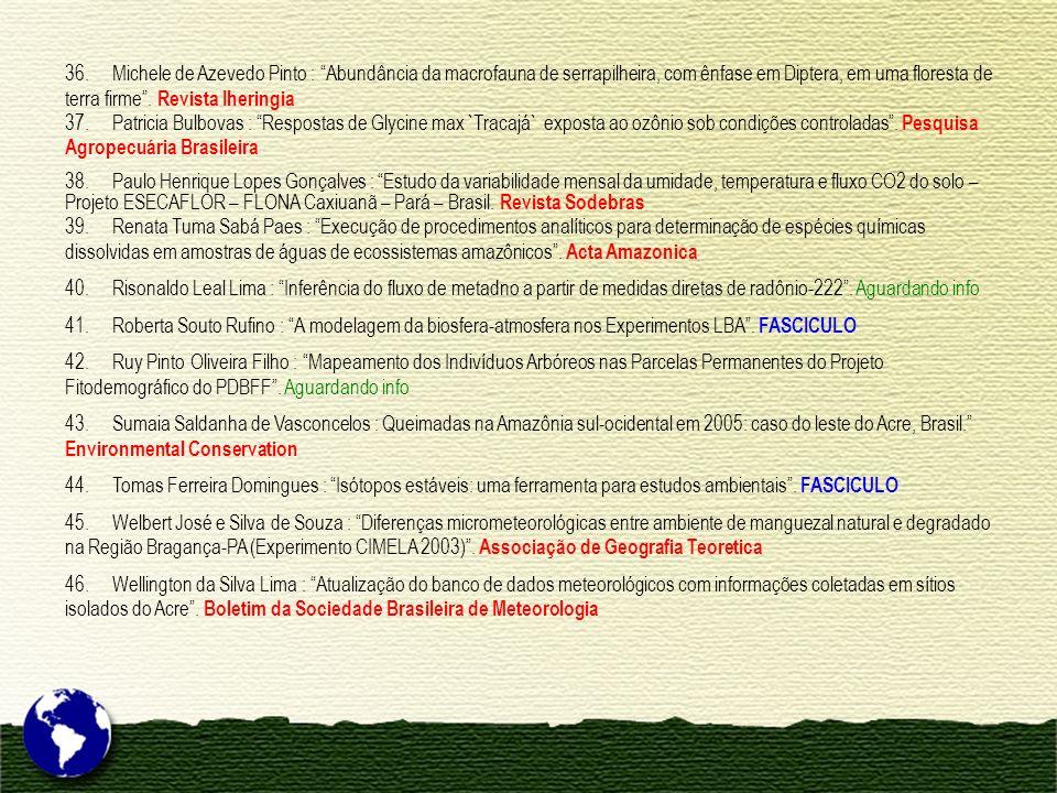36. Michele de Azevedo Pinto : Abundância da macrofauna de serrapilheira, com ênfase em Diptera, em uma floresta de terra firme. Revista Iheringia 37.