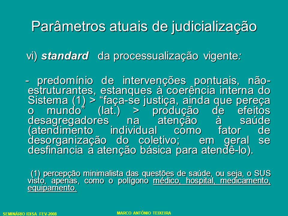 SEMINÁRIO IDISA FEV-2008 MARCO ANTÔNIO TEIXEIRA Parâmetros atuais de judicialização vi) standard da processualização vigente: vi) standard da processualização vigente: - predomínio de intervenções pontuais, não- estruturantes, estanques à coerência interna do Sistema (1) > faça-se justiça, ainda que pereça o mundo (lat.) > produção de efeitos desagregadores na atenção à saúde (atendimento individual como fator de desorganização do coletivo; em geral se desfinancia a atenção básica para atendê-lo).