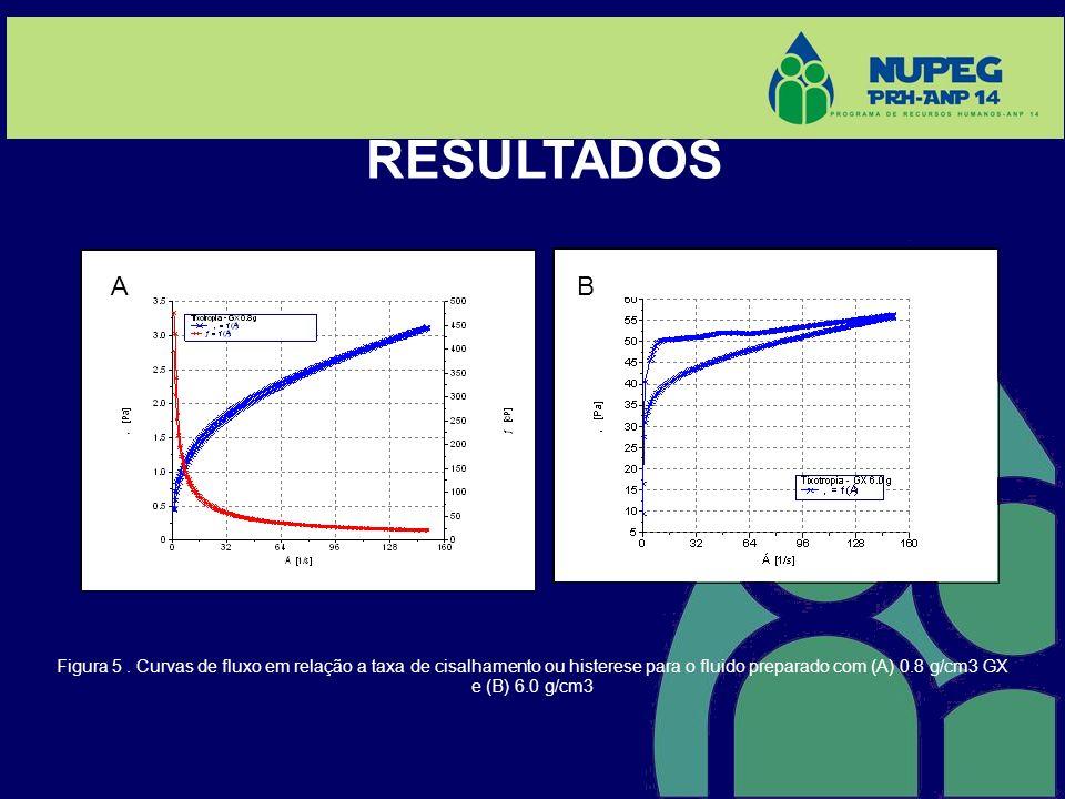 Figura 5. Curvas de fluxo em relação a taxa de cisalhamento ou histerese para o fluido preparado com (A) 0.8 g/cm3 GX e (B) 6.0 g/cm3 RESULTADOS (A) (