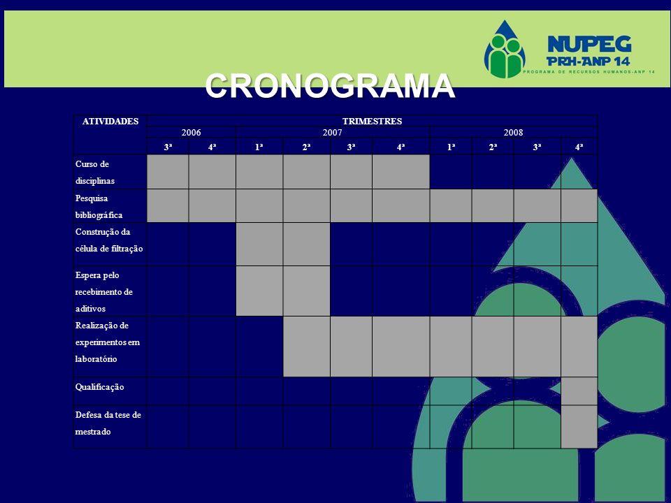 CRONOGRAMA ATIVIDADES TRIMESTRES 200620072008 3ª4ª1ª2ª3ª4ª1ª2ª3ª4ª Curso de disciplinas Pesquisa bibliográfica Construção da célula de filtração Esper