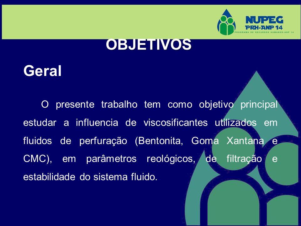 OBJETIVOS Geral O presente trabalho tem como objetivo principal estudar a influencia de viscosificantes utilizados em fluidos de perfuração (Bentonita