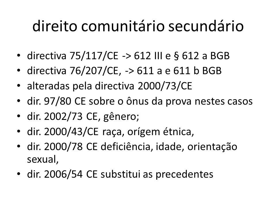 direito comunitário secundário directiva 75/117/CE -> 612 III e § 612 a BGB directiva 76/207/CE, -> 611 a e 611 b BGB alteradas pela directiva 2000/73
