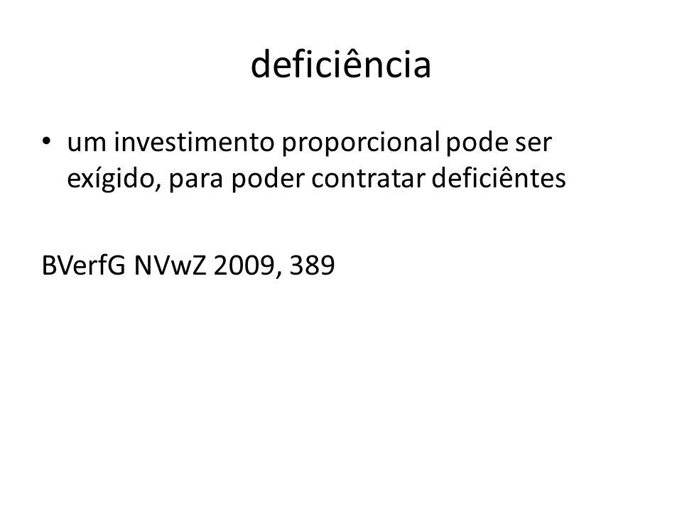 deficiência um investimento proporcional pode ser exígido, para poder contratar deficiêntes BVerfG NVwZ 2009, 389