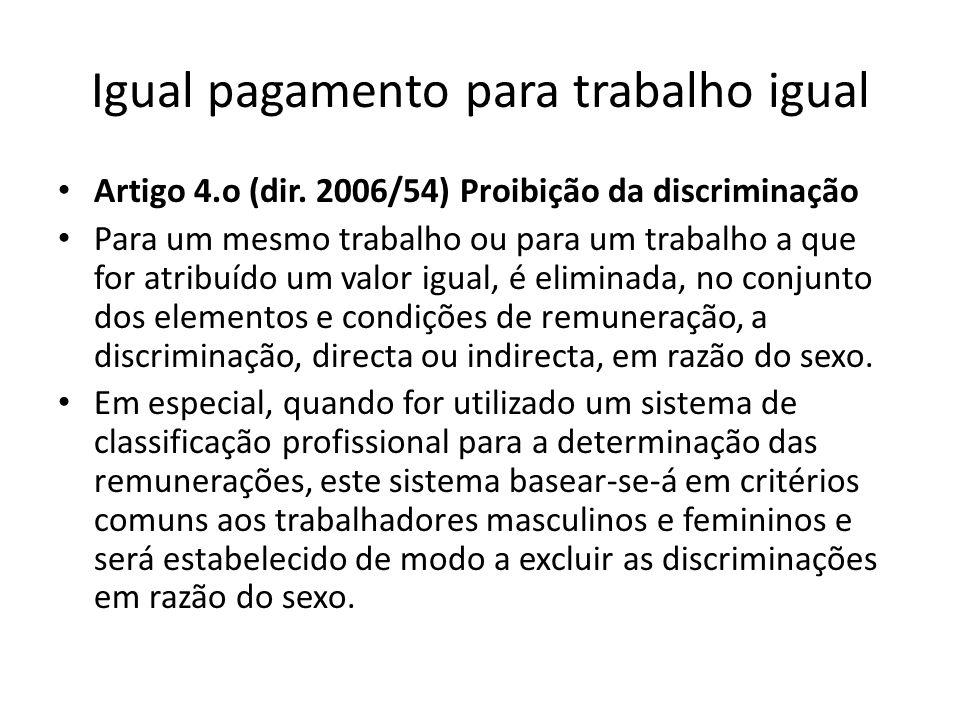 Igual pagamento para trabalho igual Artigo 4.o (dir. 2006/54) Proibição da discriminação Para um mesmo trabalho ou para um trabalho a que for atribuíd