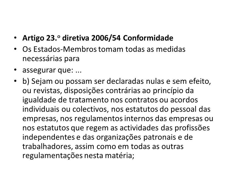Artigo 23. o diretiva 2006/54 Conformidade Os Estados-Membros tomam todas as medidas necessárias para assegurar que:... b) Sejam ou possam ser declara