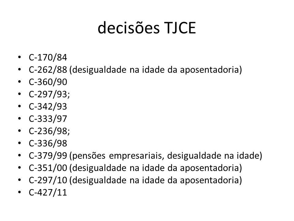 decisões TJCE C-170/84 C-262/88 (desigualdade na idade da aposentadoria) C-360/90 C-297/93; C-342/93 C-333/97 C-236/98; C-336/98 C-379/99 (pensões emp