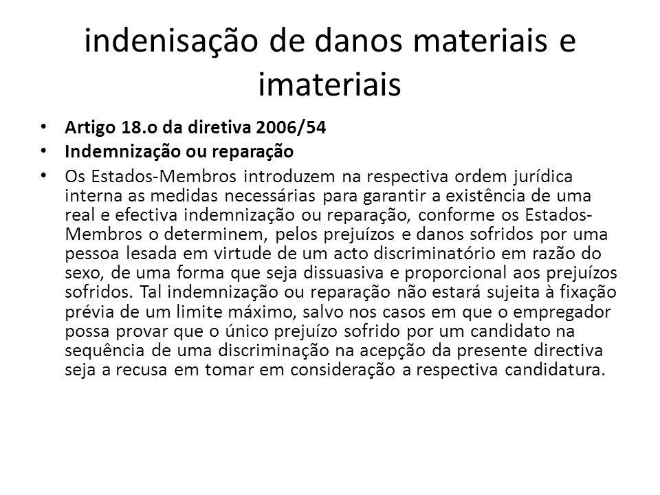indenisação de danos materiais e imateriais Artigo 18.o da diretiva 2006/54 Indemnização ou reparação Os Estados-Membros introduzem na respectiva orde