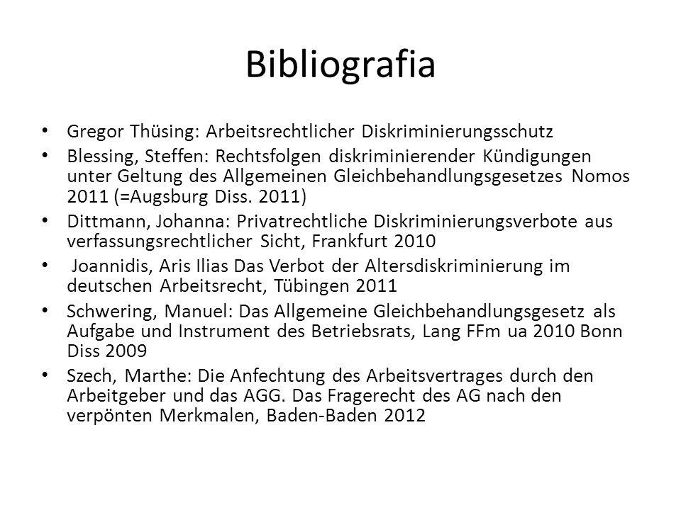 Bibliografia Gregor Thüsing: Arbeitsrechtlicher Diskriminierungsschutz Blessing, Steffen: Rechtsfolgen diskriminierender Kündigungen unter Geltung des