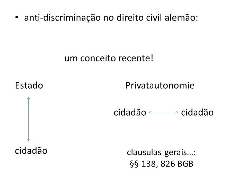 anti-discriminação no direito civil alemão: um conceito recente! Estado Privatautonomie cidadão clausulas gerais…: §§ 138, 826 BGB
