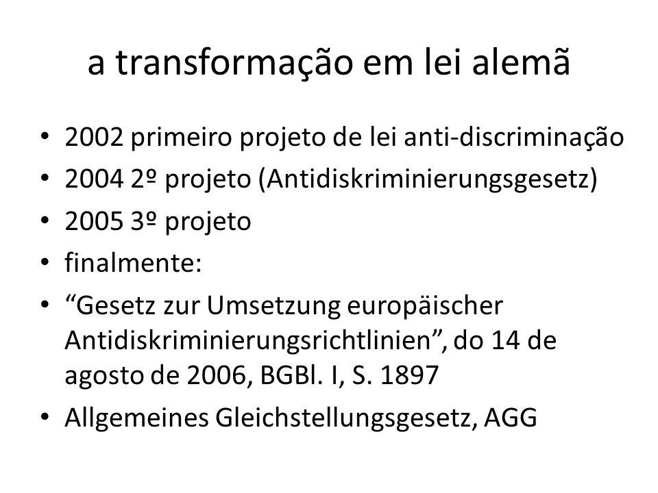 a transformação em lei alemã 2002 primeiro projeto de lei anti-discriminação 2004 2º projeto (Antidiskriminierungsgesetz) 2005 3º projeto finalmente: