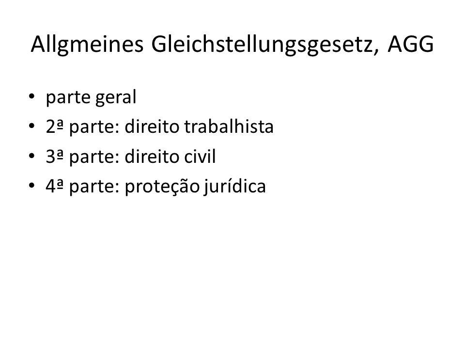 Allgmeines Gleichstellungsgesetz, AGG parte geral 2ª parte: direito trabalhista 3ª parte: direito civil 4ª parte: proteção jurídica