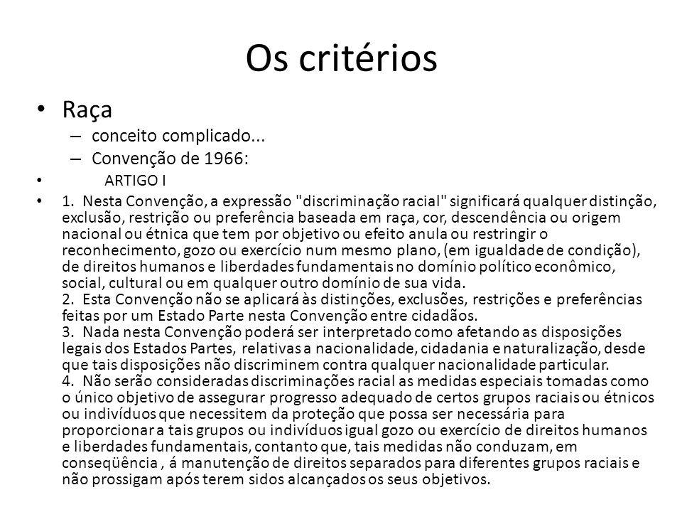 Os critérios Raça – conceito complicado... – Convenção de 1966: ARTIGO I 1. Nesta Convenção, a expressão