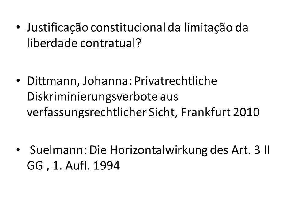 Justificação constitucional da limitação da liberdade contratual? Dittmann, Johanna: Privatrechtliche Diskriminierungsverbote aus verfassungsrechtlich