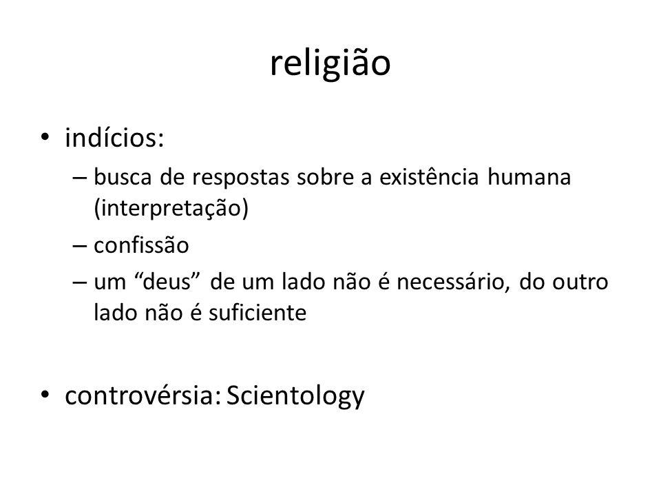 religião indícios: – busca de respostas sobre a existência humana (interpretação) – confissão – um deus de um lado não é necessário, do outro lado não