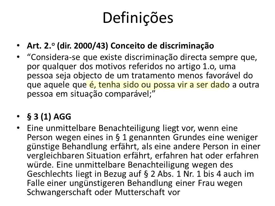 Definições Art. 2. o (dir. 2000/43) Conceito de discriminação Considera-se que existe discriminação directa sempre que, por qualquer dos motivos refer