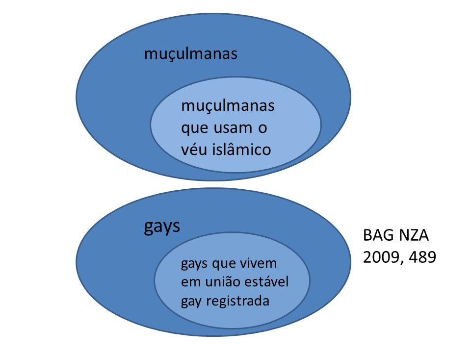 muçulmanas muçulmanas que usam o véu islâmico gays gays que vivem em união estável gay registrada BAG NZA 2009, 489
