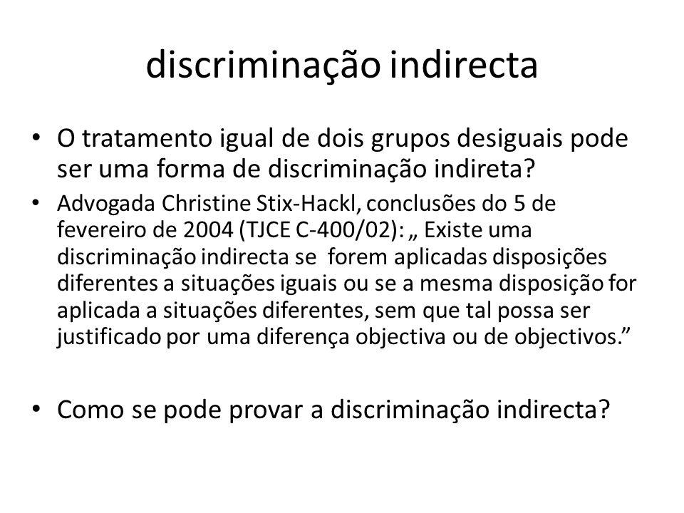 discriminação indirecta O tratamento igual de dois grupos desiguais pode ser uma forma de discriminação indireta? Advogada Christine Stix-Hackl, concl