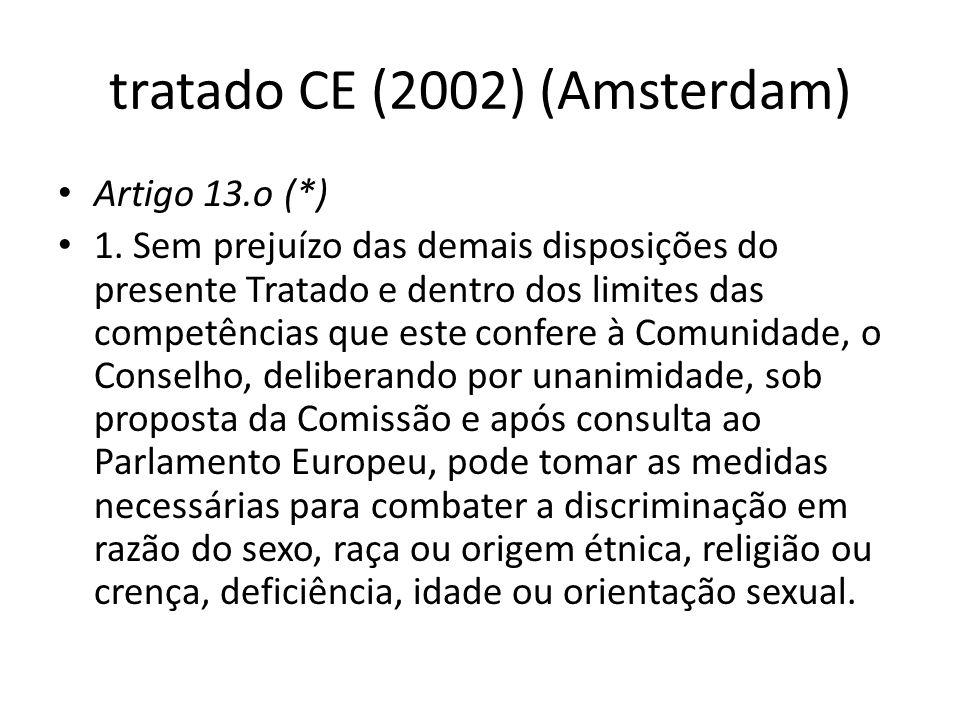 tratado CE (2002) (Amsterdam) Artigo 13.o (*) 1. Sem prejuízo das demais disposições do presente Tratado e dentro dos limites das competências que est