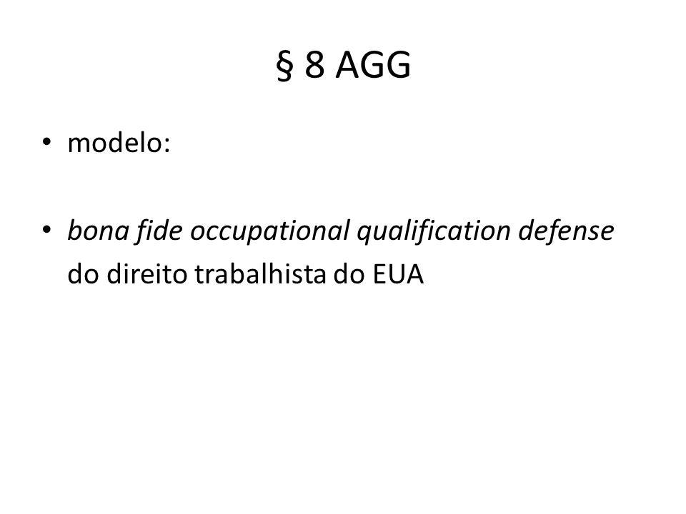 § 8 AGG modelo: bona fide occupational qualification defense do direito trabalhista do EUA