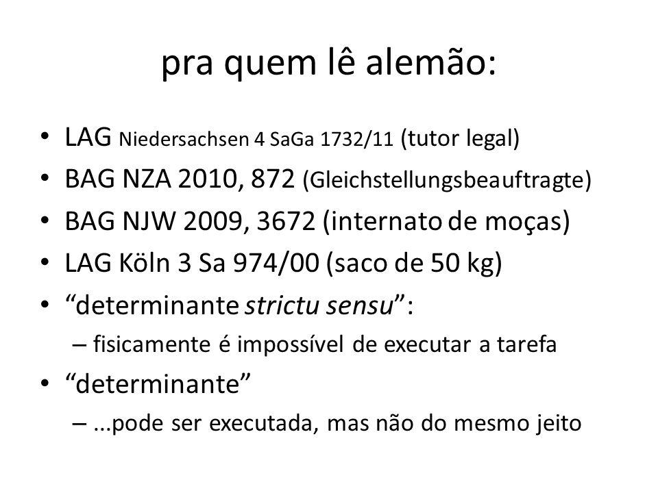 pra quem lê alemão: LAG Niedersachsen 4 SaGa 1732/11 (tutor legal) BAG NZA 2010, 872 (Gleichstellungsbeauftragte) BAG NJW 2009, 3672 (internato de moç