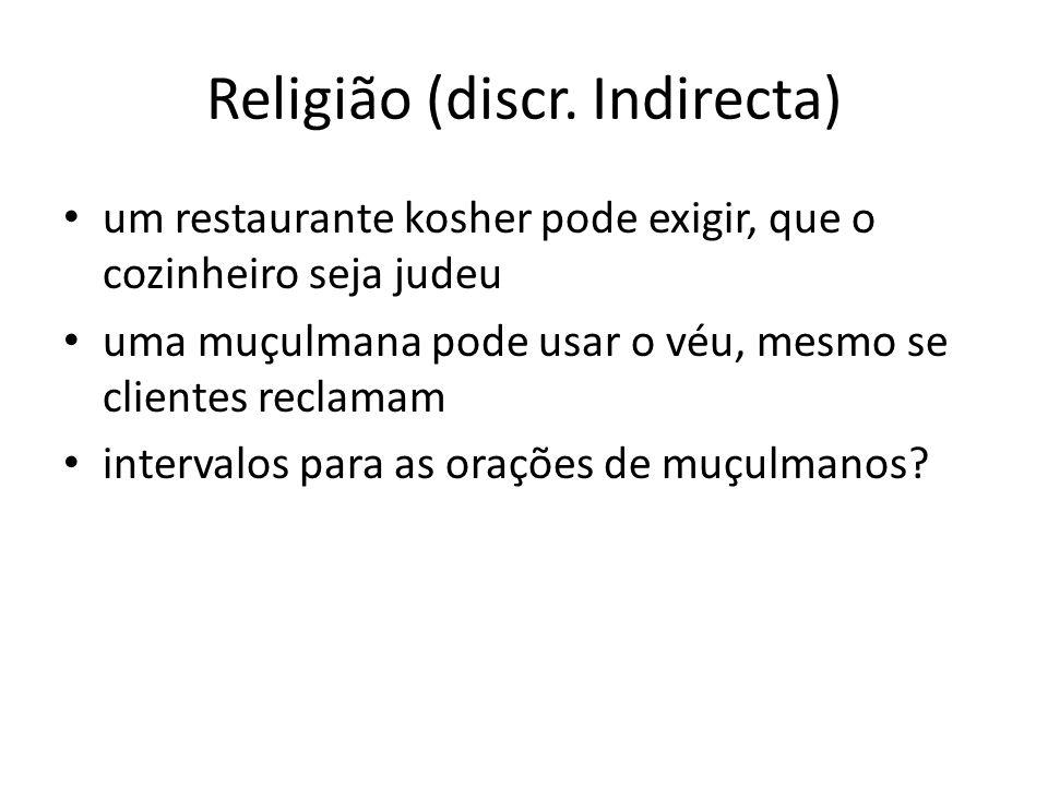 Religião (discr. Indirecta) um restaurante kosher pode exigir, que o cozinheiro seja judeu uma muçulmana pode usar o véu, mesmo se clientes reclamam i