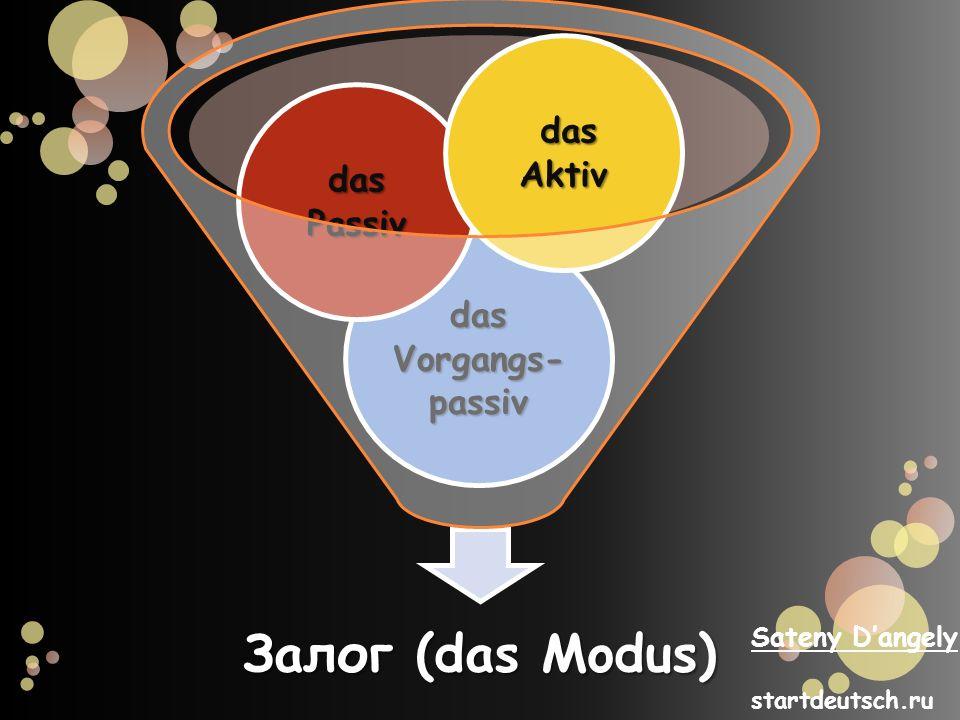 Залог (das Modus) das Vorgangs- passiv das Passiv das Aktiv das Aktiv Sateny Dangely startdeutsch.ru