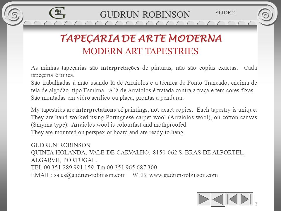 INTERPRETATION OF: GAUDINS IVORY COAST TAPEÇARIA DE ARTE MODERNA MODERN ART TAPESTRIES 0.79 x 0.56.m GUDRUN ROBINSON SLIDE 53