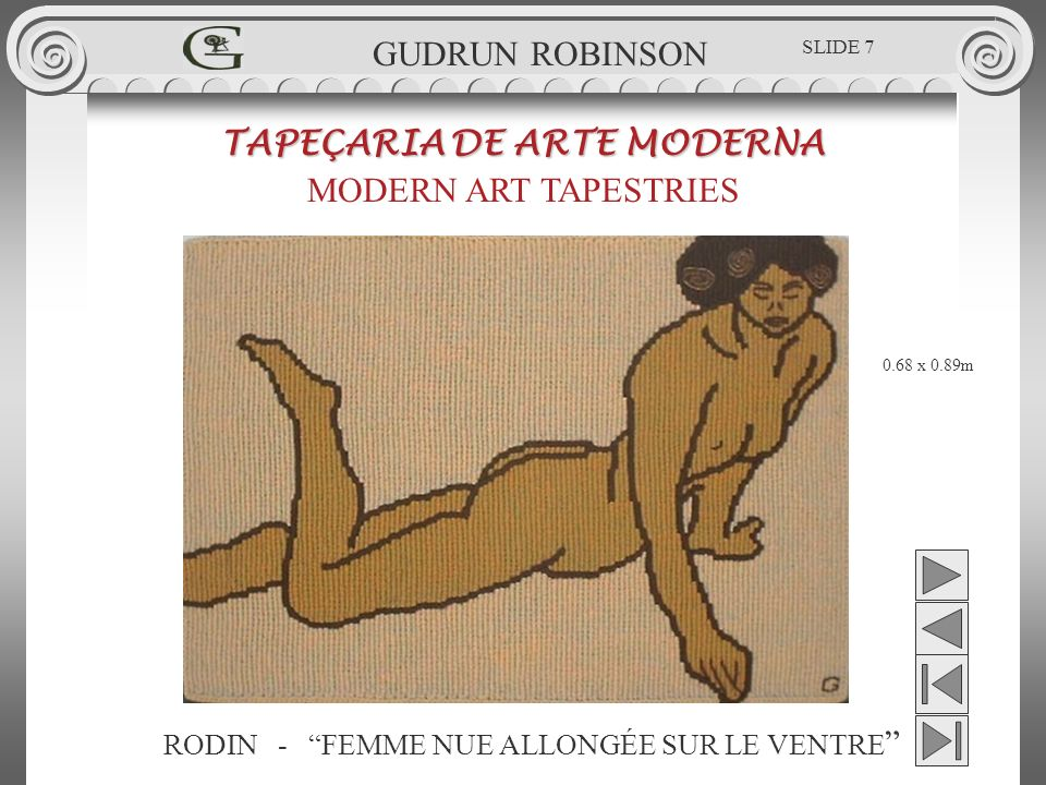 RODIN - FEMME NUE ALLONGÉE SUR LE VENTRE TAPEÇARIA DE ARTE MODERNA MODERN ART TAPESTRIES 0.68 x 0.89m GUDRUN ROBINSON SLIDE 7