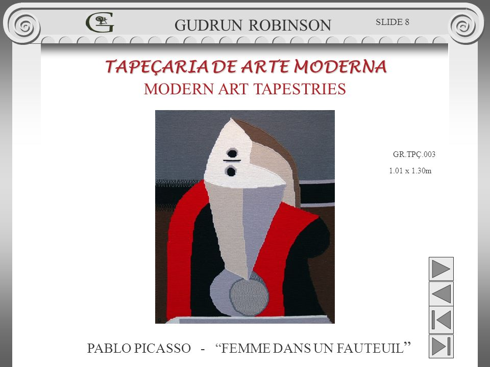 GUDRUN ROBINSON - LADY GOLFER TAPEÇARIA DE ARTE MODERNA MODERN ART TAPESTRIES 0.88 x 0.68m GUDRUN ROBINSON SLIDE 59