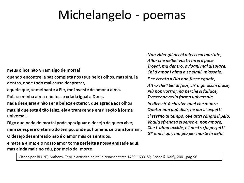 Michelangelo - poemas meus olhos não viram algo de mortal quando encontrei a paz completa nos teus belos olhos, mas sim, lá dentro, onde todo mal caus