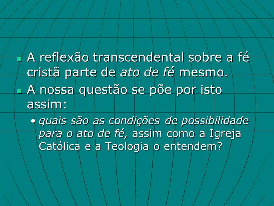 A reflexão transcendental sobre a fé cristã parte de ato de fé mesmo.