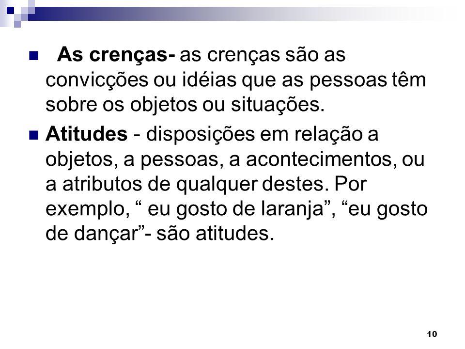 10 As crenças- as crenças são as convicções ou idéias que as pessoas têm sobre os objetos ou situações.