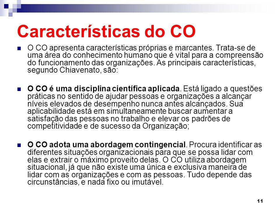 11 Características do CO O CO apresenta características próprias e marcantes.