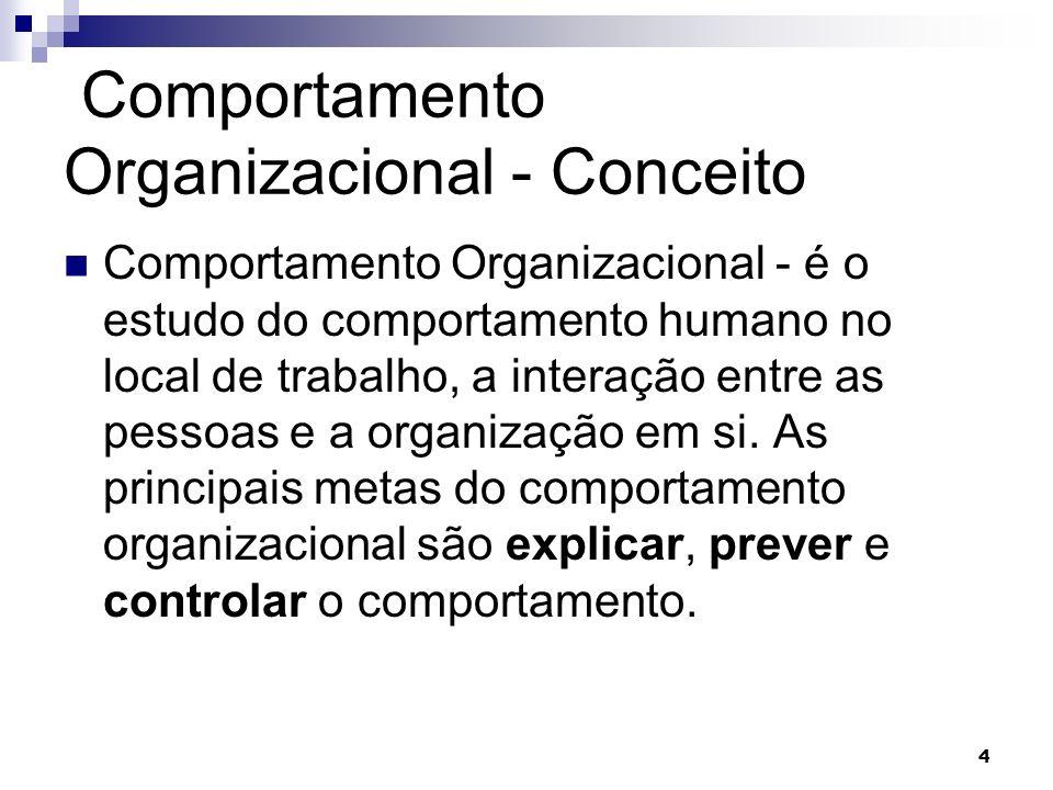 4 Comportamento Organizacional - Conceito Comportamento Organizacional - é o estudo do comportamento humano no local de trabalho, a interação entre as pessoas e a organização em si.