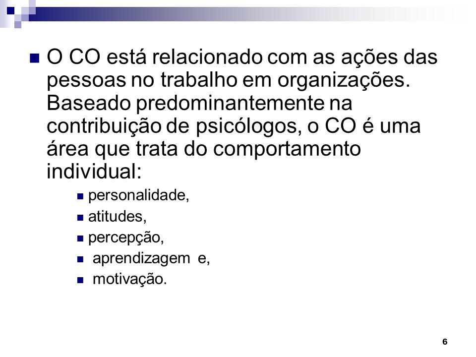 6 O CO está relacionado com as ações das pessoas no trabalho em organizações.