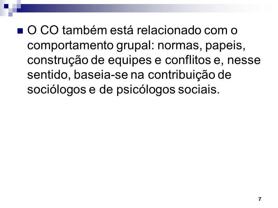 7 O CO também está relacionado com o comportamento grupal: normas, papeis, construção de equipes e conflitos e, nesse sentido, baseia-se na contribuição de sociólogos e de psicólogos sociais.