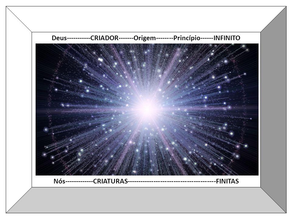 Deus-----------CRIADOR-------Origem--------Princípio------INFINITO Nós-------------CRIATURAS----------------------------------------FINITAS
