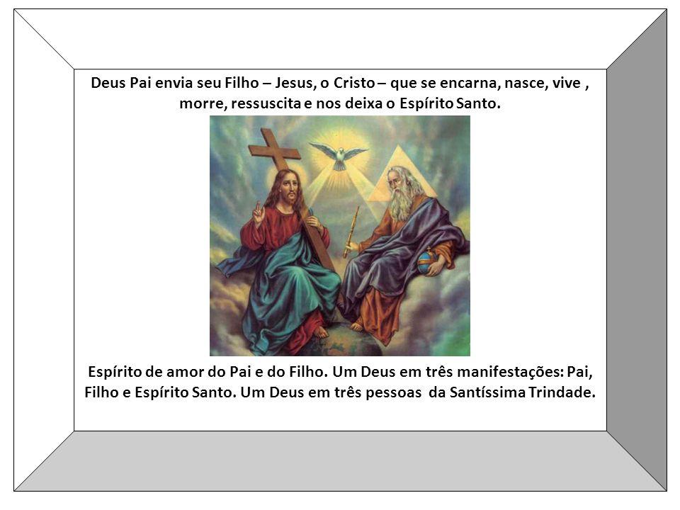 Deus Pai envia seu Filho – Jesus, o Cristo – que se encarna, nasce, vive, morre, ressuscita e nos deixa o Espírito Santo.