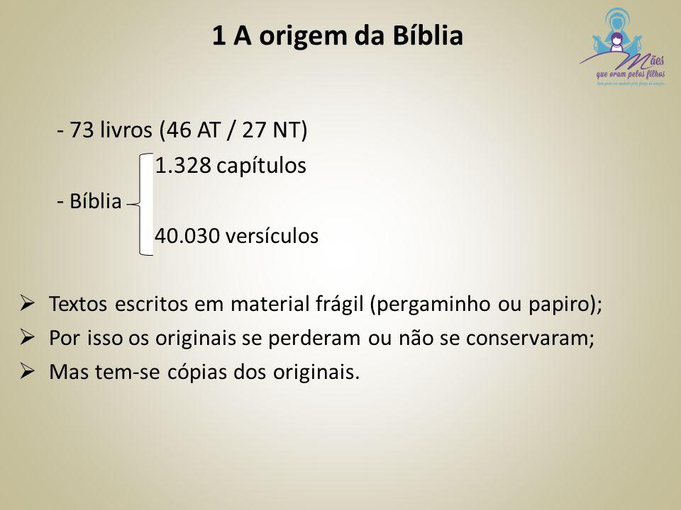 1 A origem da Bíblia - 73 livros (46 AT / 27 NT) 1.328 capítulos - Bíblia 40.030 versículos  Textos escritos em material frágil (pergaminho ou papiro