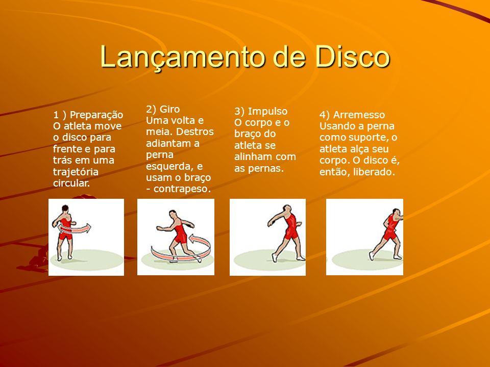 Lançamento de Disco 1 ) Preparação O atleta move o disco para frente e para trás em uma trajetória circular.